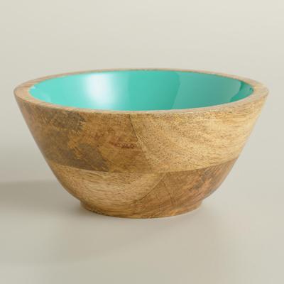 Lagoon Blue Wood Salad Bowl Set