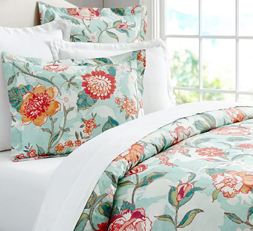 Martha Stewart Collection Aqua /& Coral Patchwork Posey Standard Sham Bedding