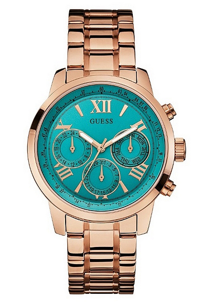 Turquoise and Rose Gold-Tone Classic Sport Watch
