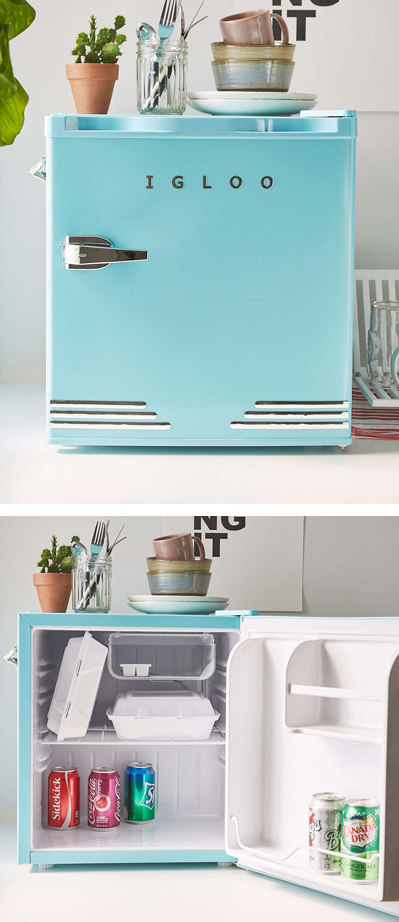 Blue Mini Refrigerator