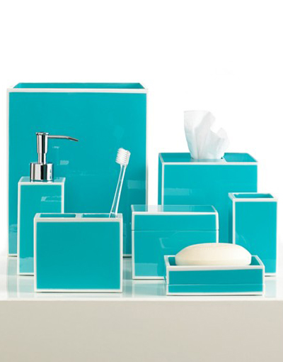Blue soho bath accessories everything turquoise for Turquoise bathroom set
