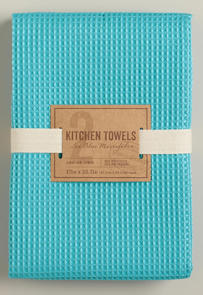 Captivating Blue Waffle Weave Microfiber Kitchen Towels