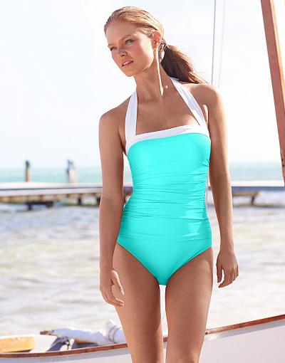 Lauren Ralph Lauren Ruched Halter One-Piece Swimsuit