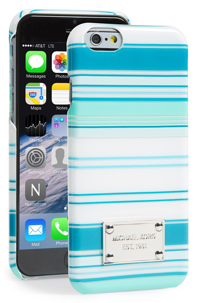 Michael Kors Tonal Stripe Turquoise iPhone 6 Case