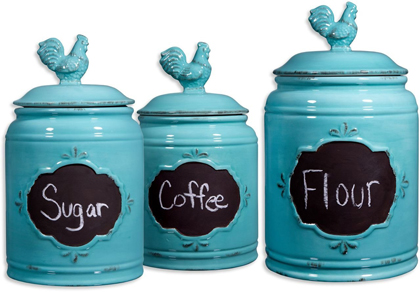 Aqua Ceramic Round Chalkboard Rooster Canister Jars Set