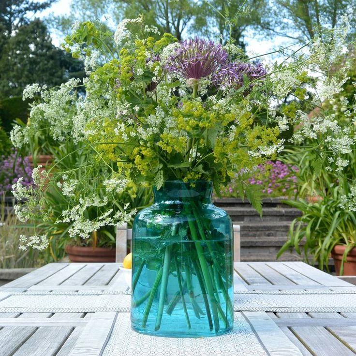 Large Turquoise Glass Vase Everything Turquoise