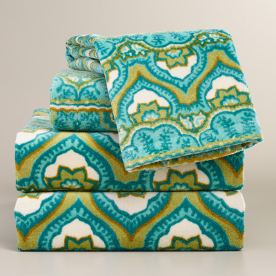 Sea Blue Clementine Printed Towel Collection