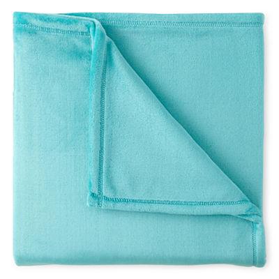Turquoise Velvet Plush Solid Throw