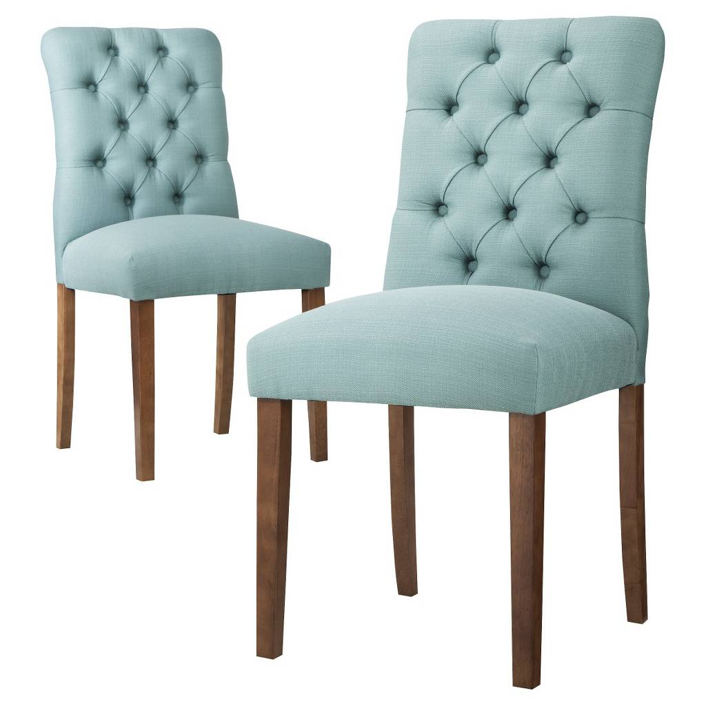 Aqua blue brookline tufted dining chair everything turquoise - Tufted dining room chairs ...