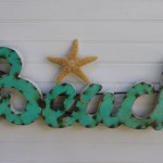 Aqua Metal Beach Sign