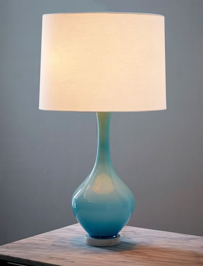 Vintage Light Blue Colored Glass Table Lamp