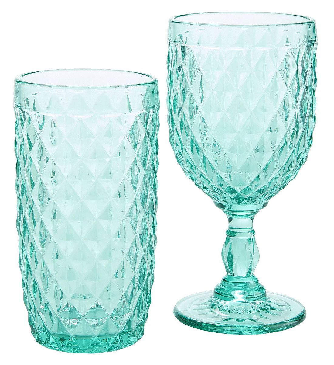 Turquoise Diamond Cut Glassware