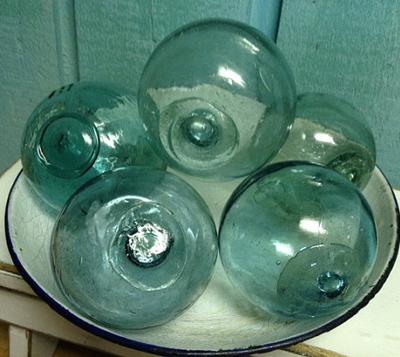 Blue Green Glass Fishing Floats