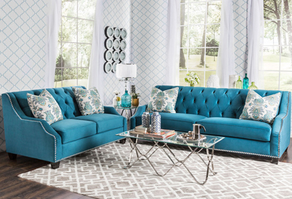 Furniture of America Elsira Premium Velvet 2-piece Cerulean Blue Sofa Set