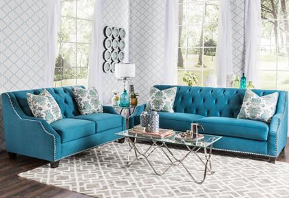 Elsira premium velvet 2 piece cerulean blue sofa set - Sofa azul turquesa ...