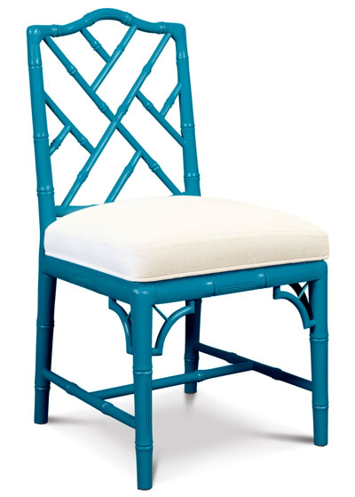 Jonathan Adler Teal Chippendale Side Chair