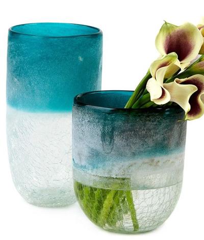 Set of 2 Frosted Crackle Vases