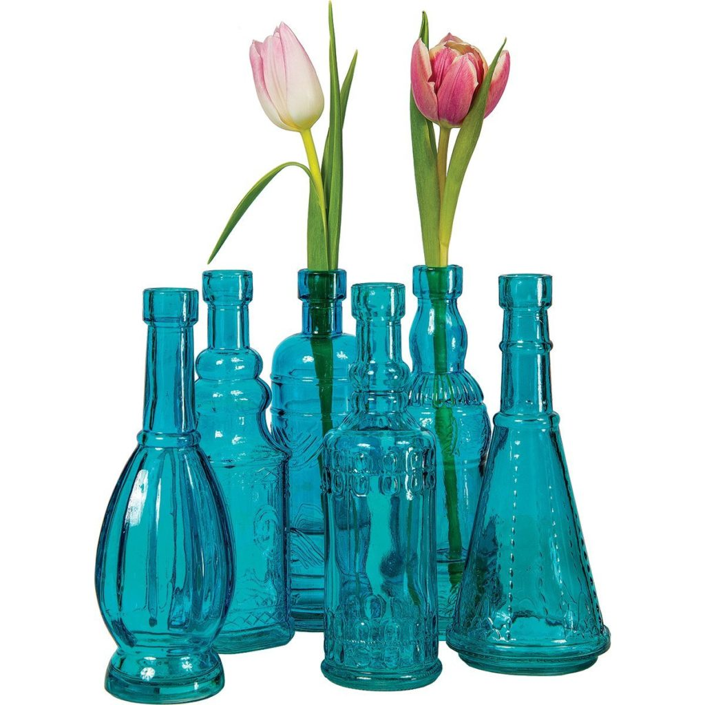 Turquoise Small Vintage Glass Bottle Set