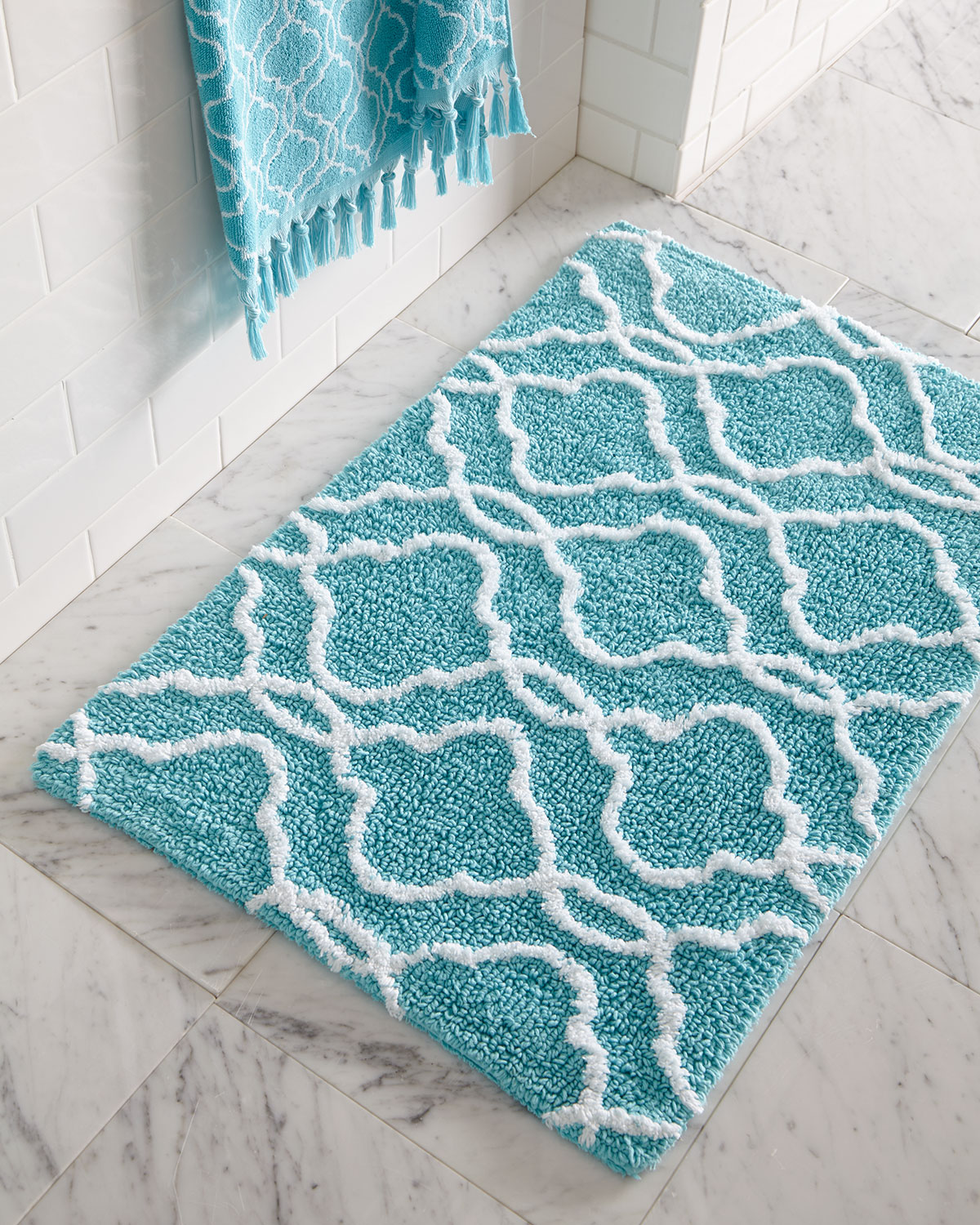 Aqua bathroom rugs - Tangiers Bath Rug