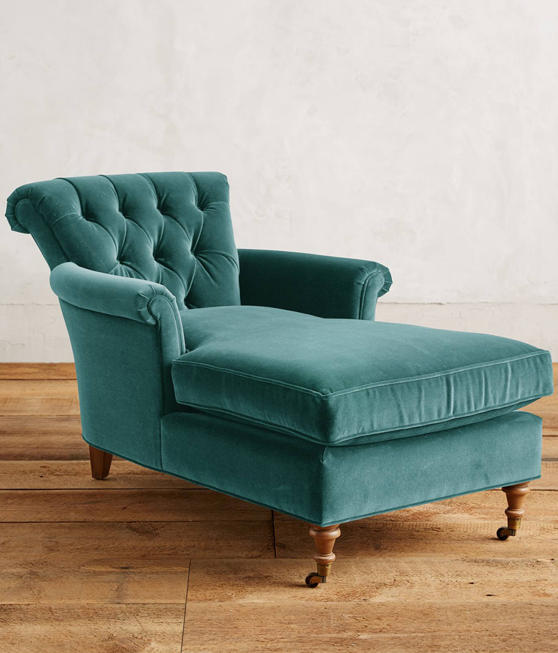 Preferred Teal Velvet Gwinnette Chaise Lounge | Everything Turquoise IF17