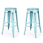 Vintage Inspired Metal Counter Stool Set