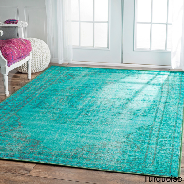 Brand-new nuLOOM Vintage Inspired Turquoise Overdyed Rug | Everything Turquoise ZU58