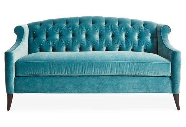 Beau Calypso Velvet Coco Tufted Sofa