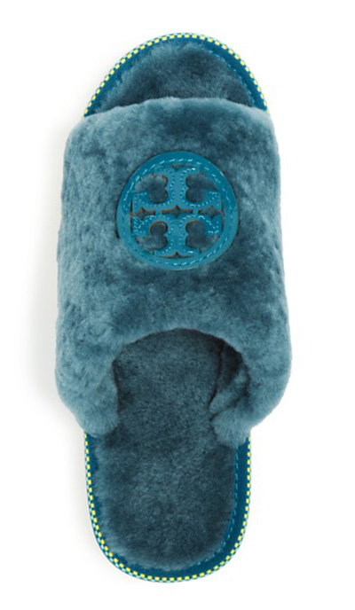 Tory Burch Shearling Logo Slide Slippers