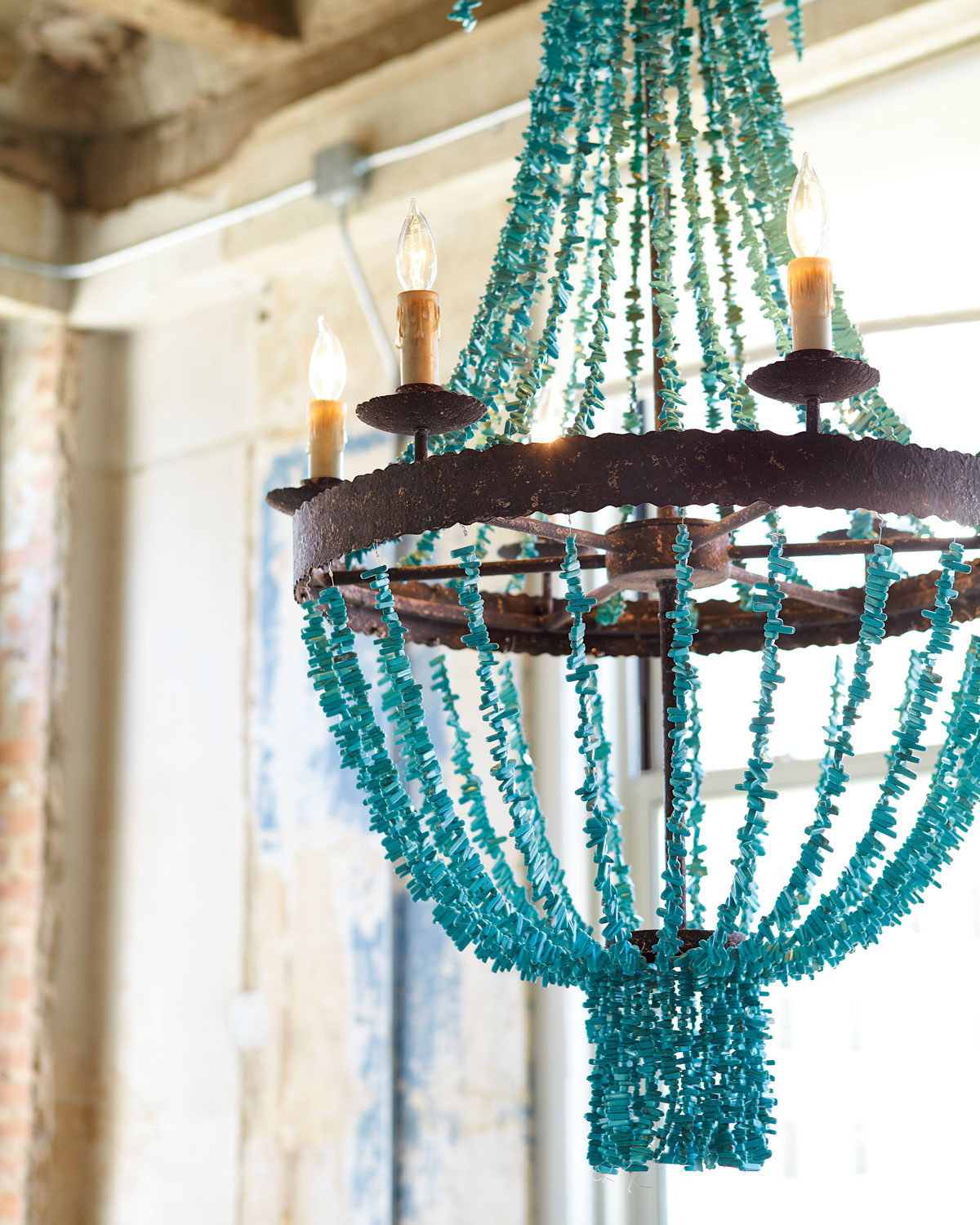 Welcoming White Kitchen Is Illuminated By Regina Andrew: Turquoise Beads Six-Light Chandelier