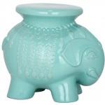 Turquoise Elephant Garden Stool