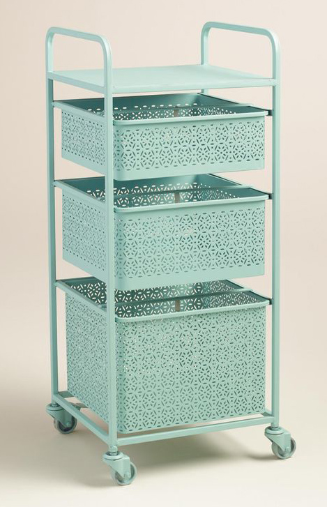 Aqua Blue Metal 3 Drawer Mia Rolling Cart Everything