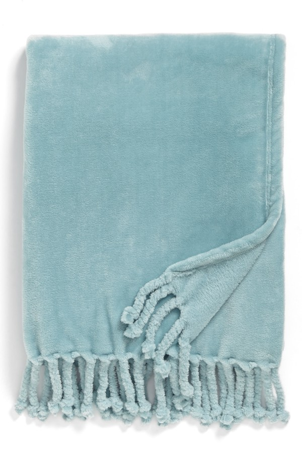 Bliss Plush Throw in Aquafir