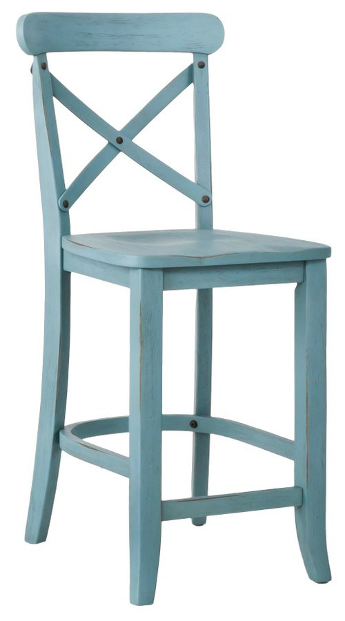 French Country X Back 24 Counter Stool In Blue