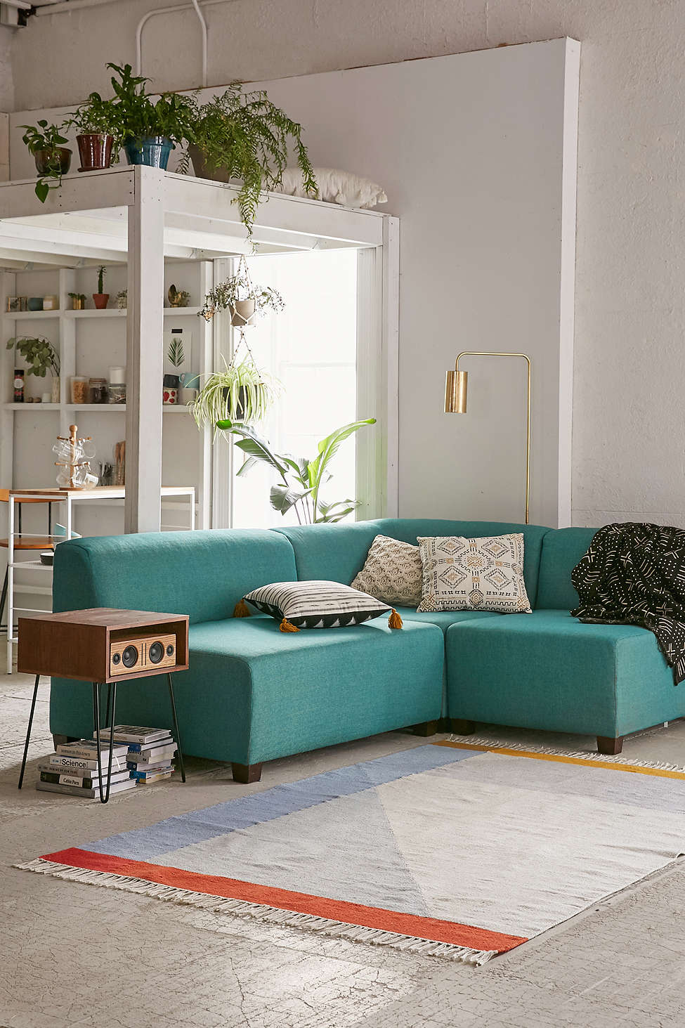 Elliot Custom Sectional Sofa In Turquoise