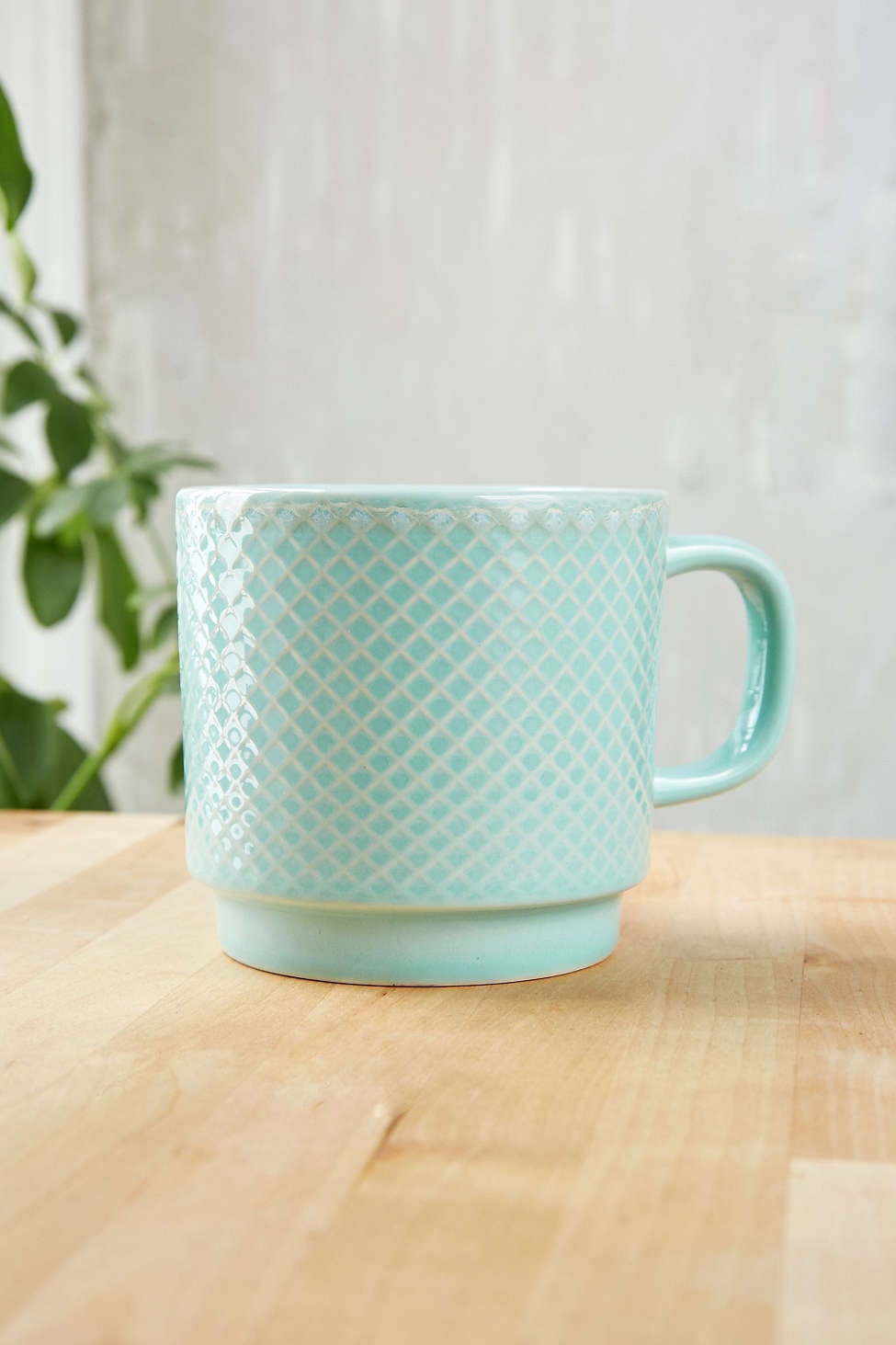 Embossed Mint Ceramic Mug