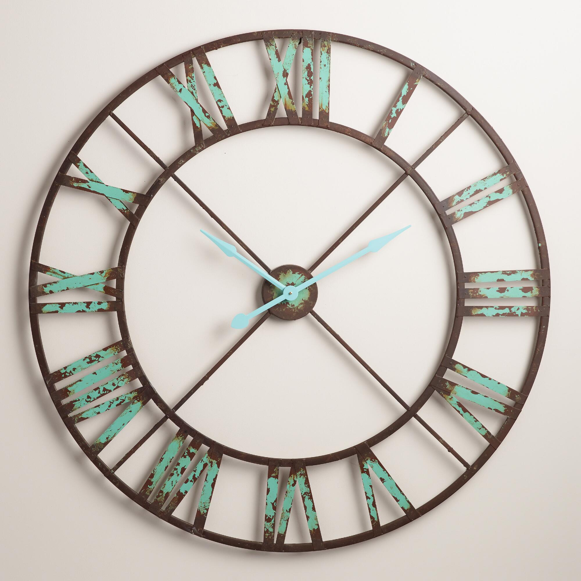turquoise large wall clocks for living room