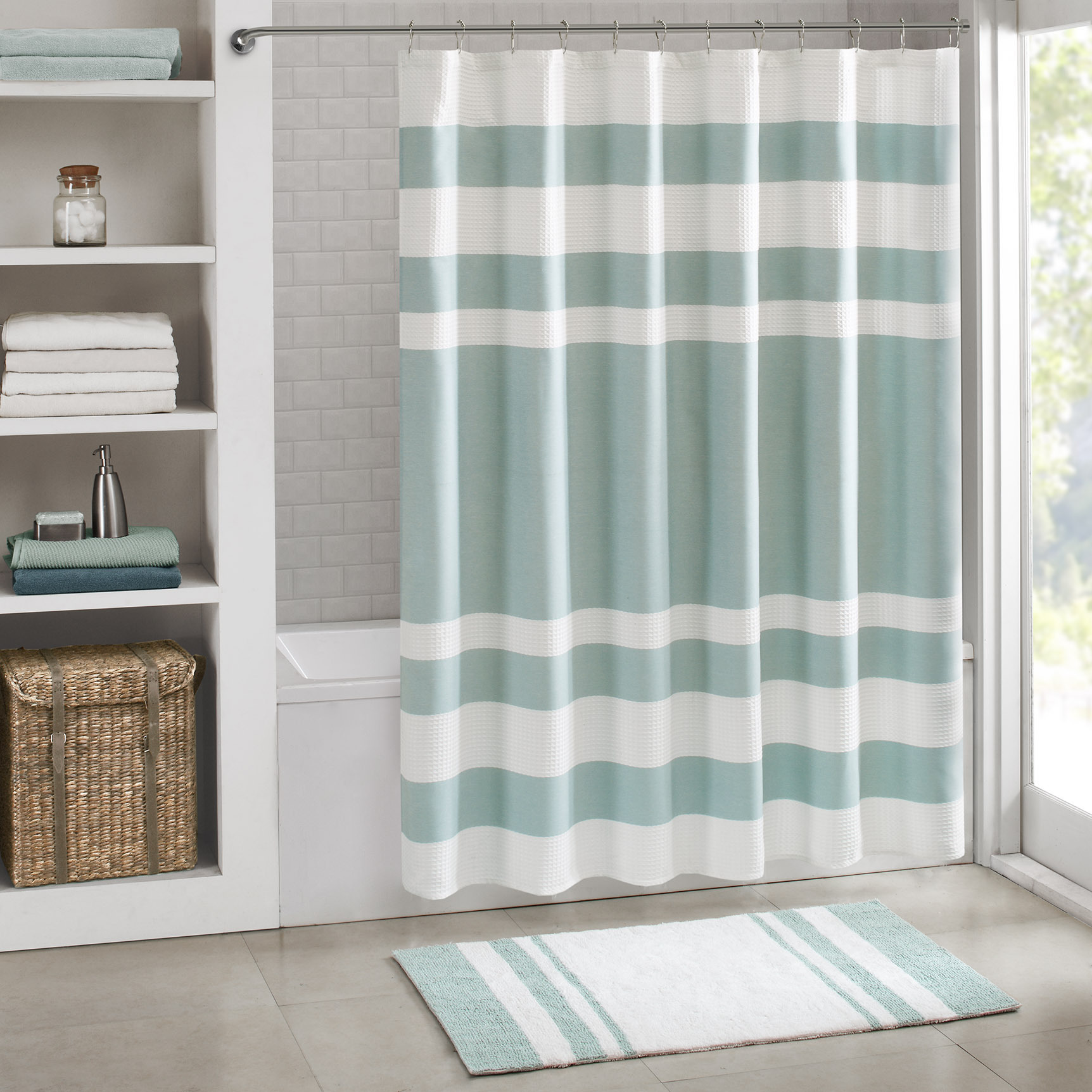 Aqua Madison Park Spa Waffle Shower Curtain | Everything Turquoise