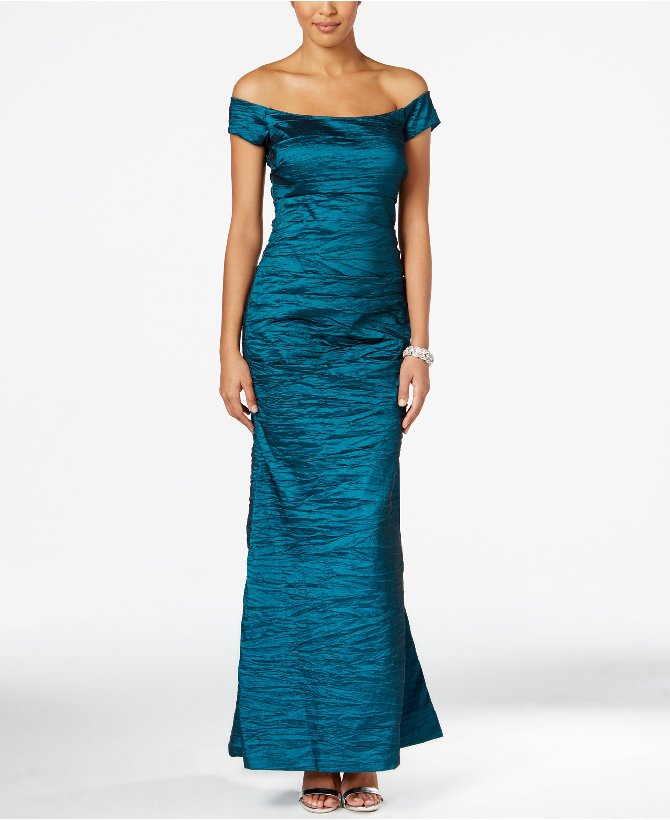 Teal Off the Shoulder Taffeta Crinkle Gown