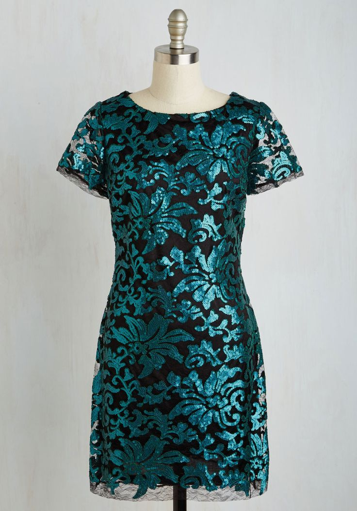 Teal Sequin Shift Dress