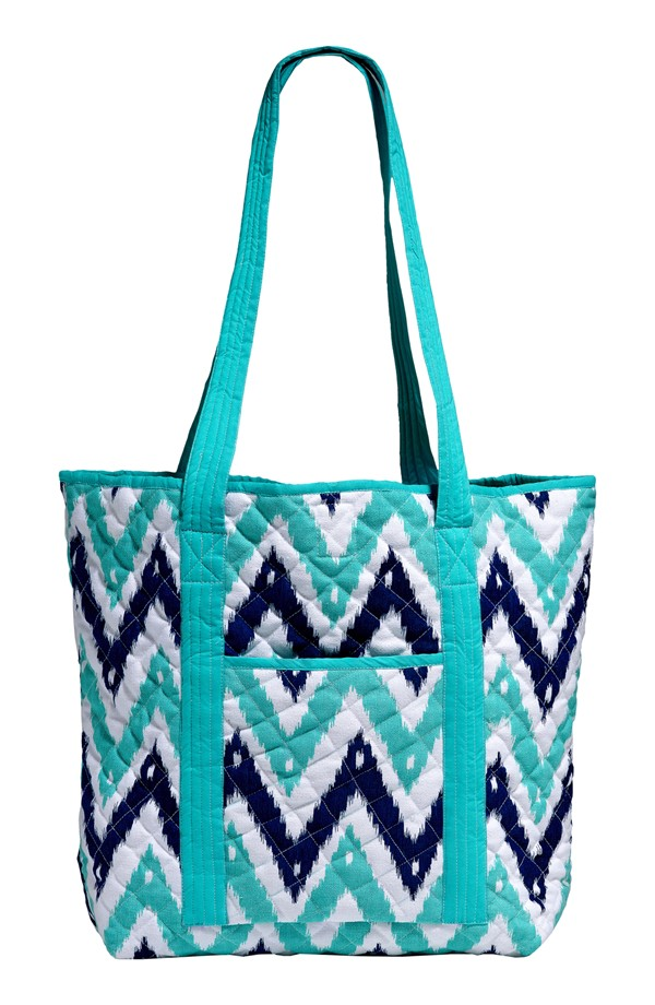 Turquoise Chevron Quilted Tote
