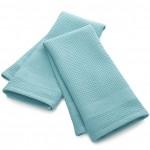 Waffle-Terry Aqua Dish Towel Set