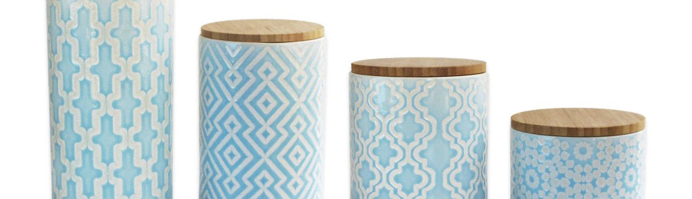 4-Piece Arabesque Canister Set in Blue