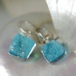 Aqua Blue Druzy Earrings