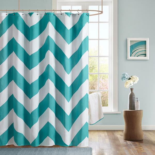 Aries Chevron Microfiber Shower Curtain