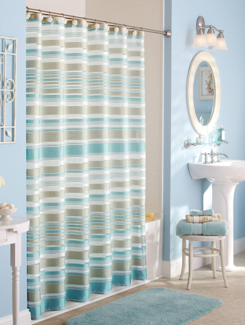 Classic Stripe Fabric Shower Curtain Everything Turquoise