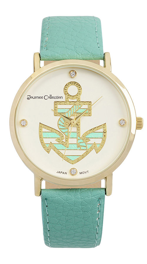 Crystal-Accent Anchor Dial Watch