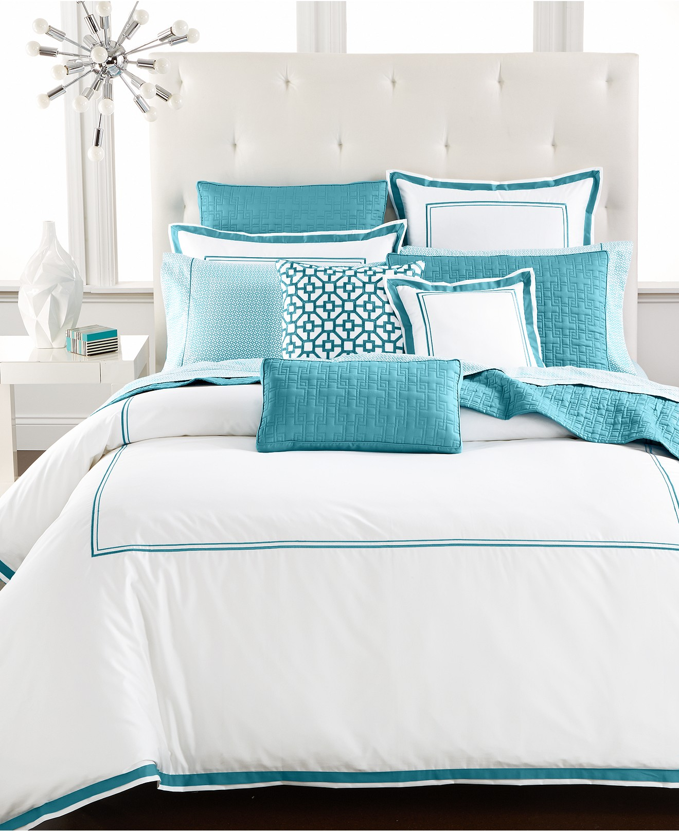 Hotel Collection Aqua Embroidered Frame Bedding Collection
