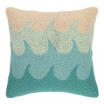 Kate Nelligan Waves Hooked Wool Throw Pillow