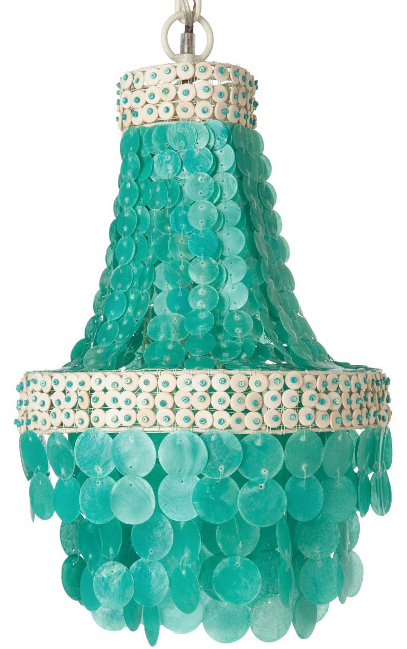 Manor Turquoise Capiz Seashell Chandelier