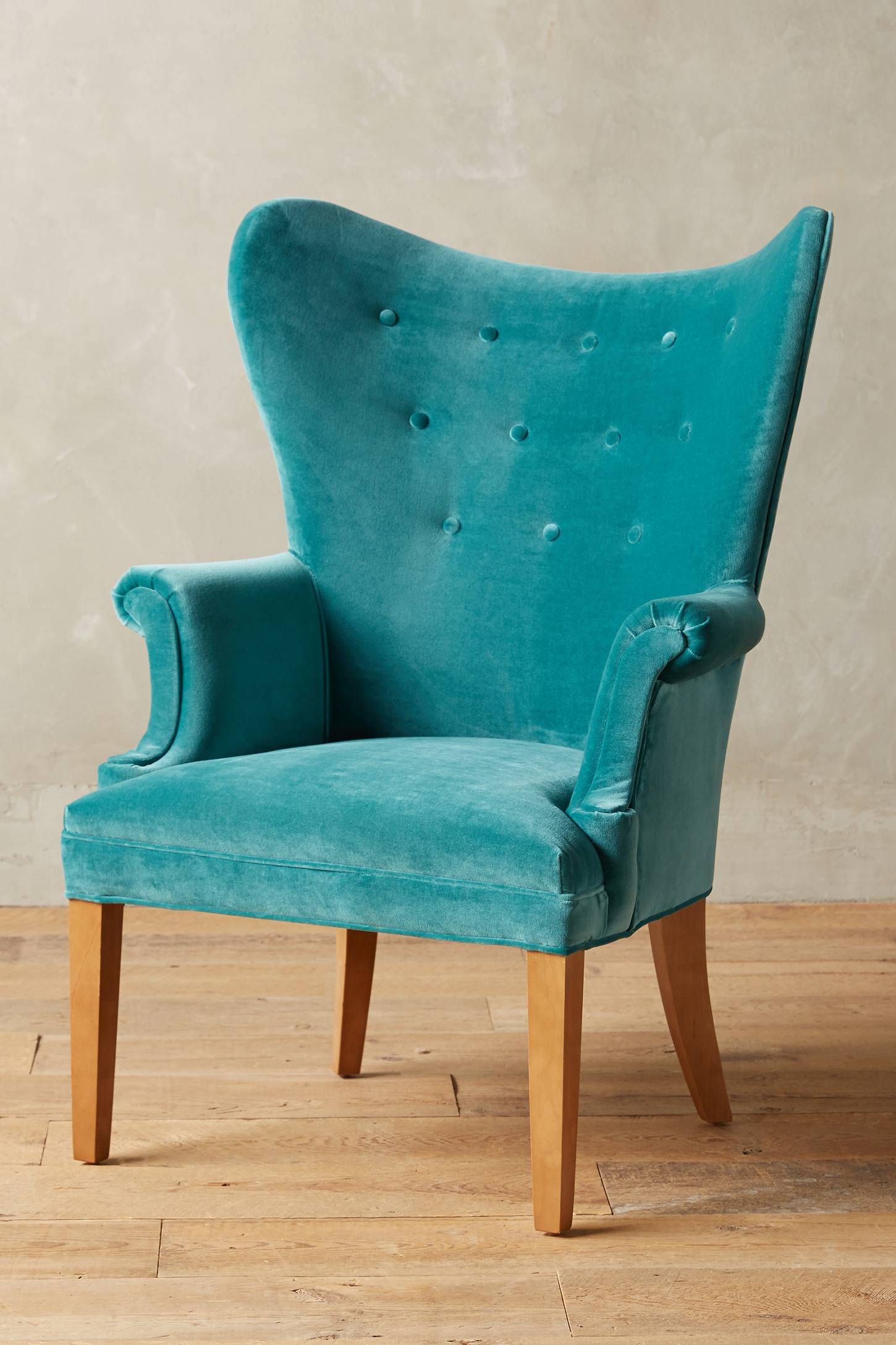 Genial Teal Velvet Wingback Chair